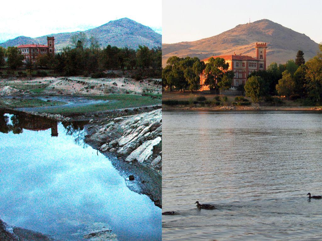 Embalse del Pontón Alto, Segovia, España, con y sin agua.