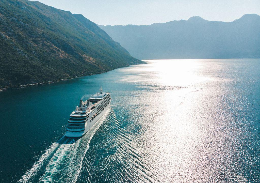 Cruise ship in sea bay.