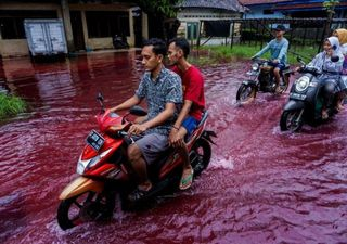 Red water invades Indonesian village