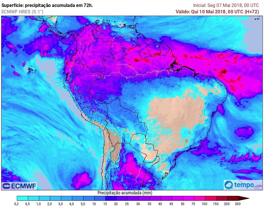 Chuvas se concentram nas áreas litorâneas e no RS