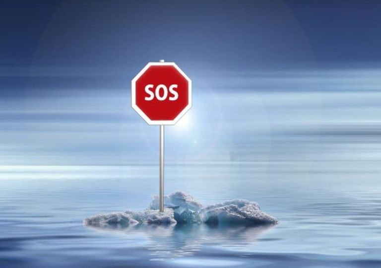 Climate emergency, SOS sign.