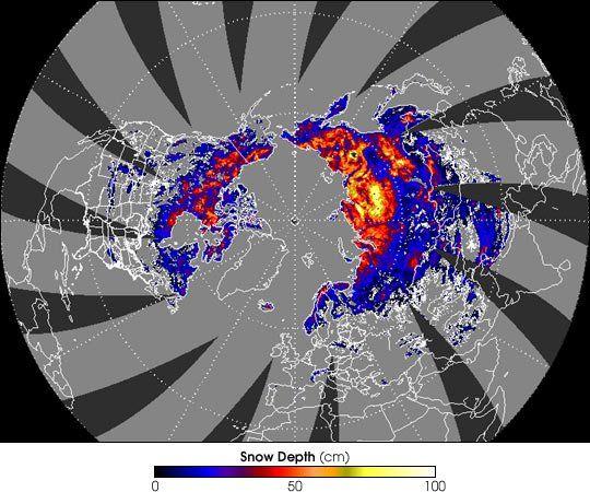 Cobertura Nivosa En El Hemisferio Norte Desde Satélite