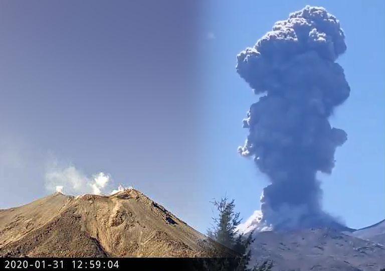 Complejo volcánico Nevados de Chillán emitiendo nube de cenizas y gases