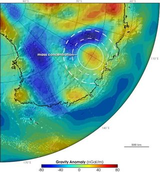 Concentración de masa en la Antártida
