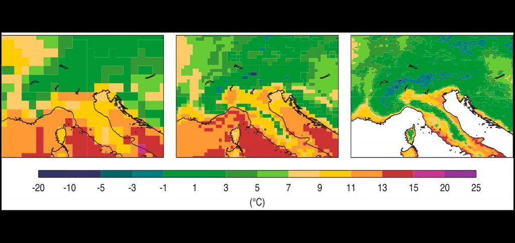 Temperaturas del suelo según datos de ERA-Interim, ERA5 y ERA5-Land. El gráfico muestra la temperatura de los 7 cm más superficiales del suelo a las 12:00 UTC del 15 de marzo de 2010 según los datos de ERA-Interim (espaciado de cuadrícula: 79 km, foto de la izquierda), ERA5 (espaciado de cuadrícula: 31 km, foto del centro) y ERA5-Land (espaciado de cuadrícula: 9 km, foto de la derecha).