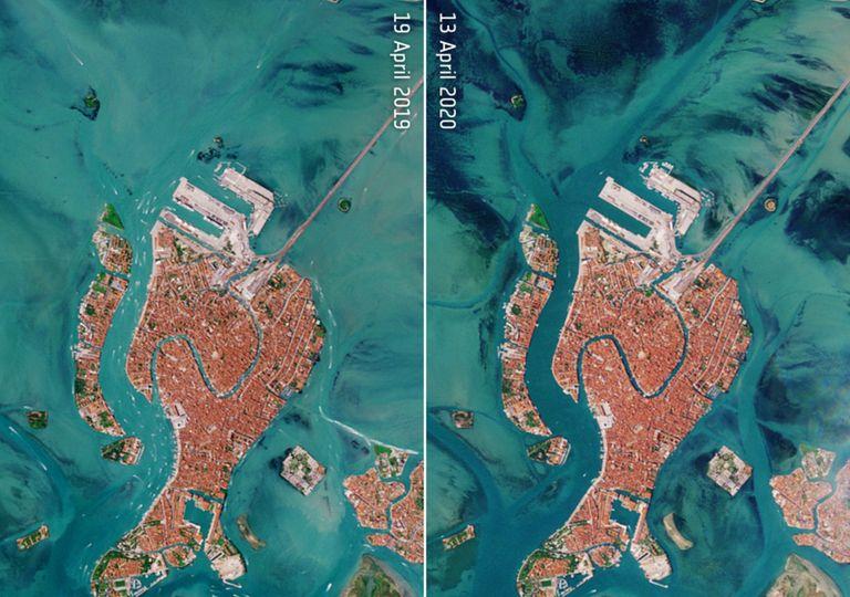 venecia, calidad de aire, agua, sedimento, italia, satelite, covid, coronavirus