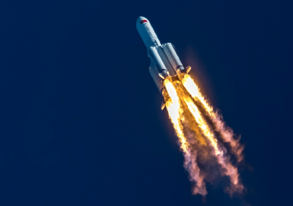 The Long March 5B rocket blasting off on 29 April. Image: Asiatimes