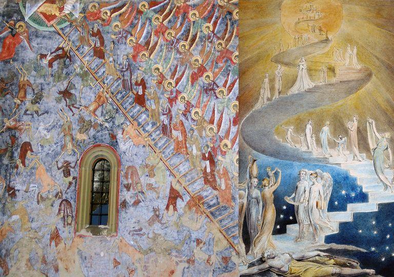 """Parte de las pinturas de la """"Escalera del Paraíso o del Juicio Final"""", Monasterio de Sucevita (izquierda) y de la """"Escalera de Jacob"""" de William Blake."""