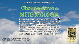 Curso de formación 2018-19: Oposiciones a Observadores de Meteorología