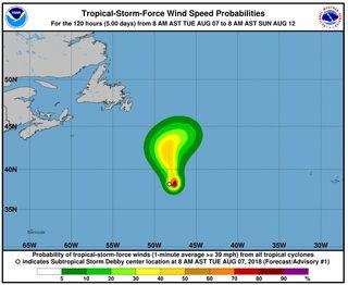 Debby se forma en el Atlántico
