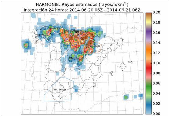 Densidad De Rayos Previstos Por El Modelo Harmonie De Aemet