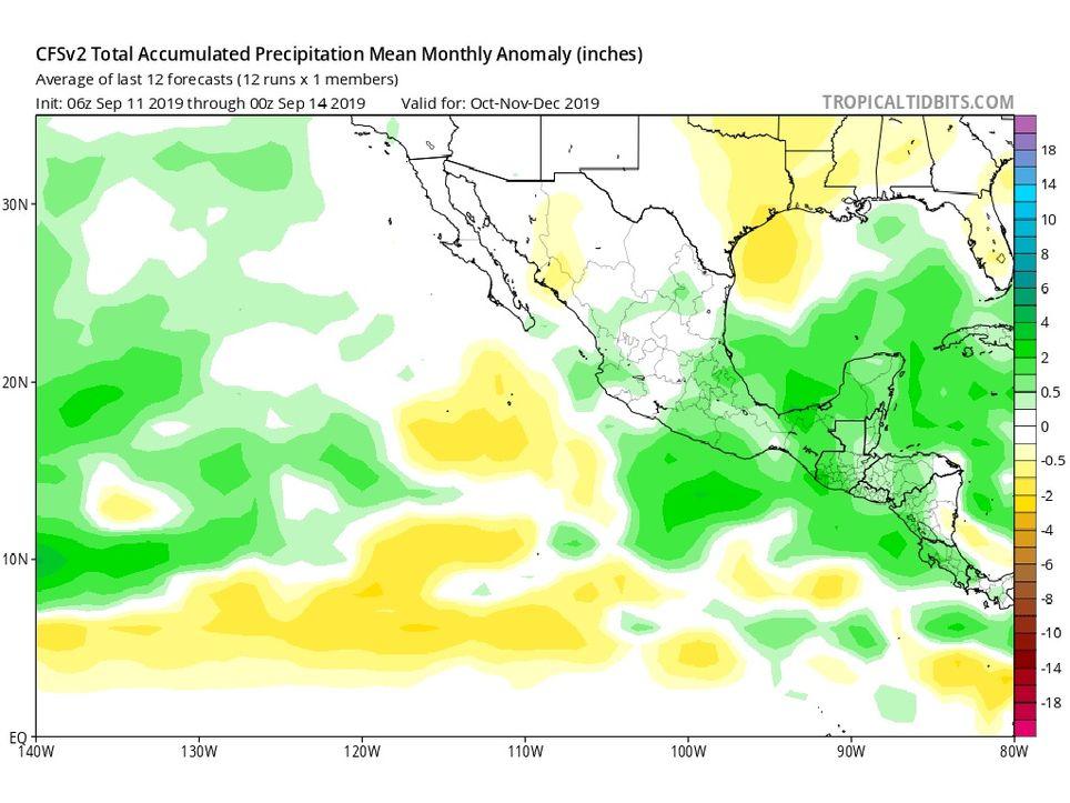 Modelo CFSv2 anomalía de precipitaciones.