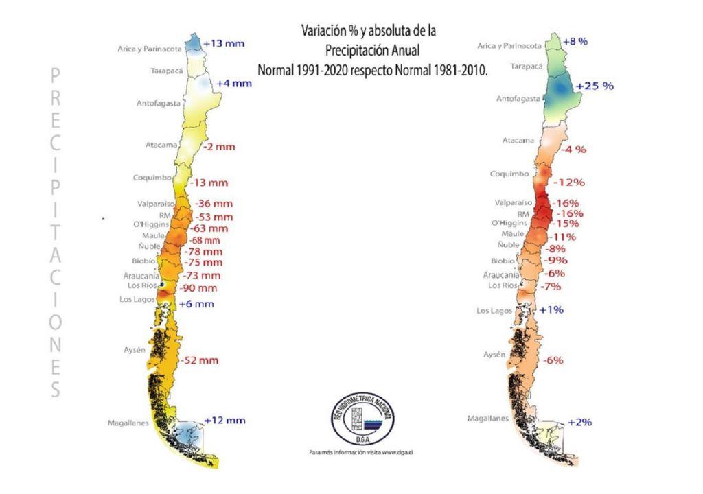 cambio de precipitaciones en Chile