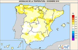 Diciembre de 2018 en España: cálido y muy seco