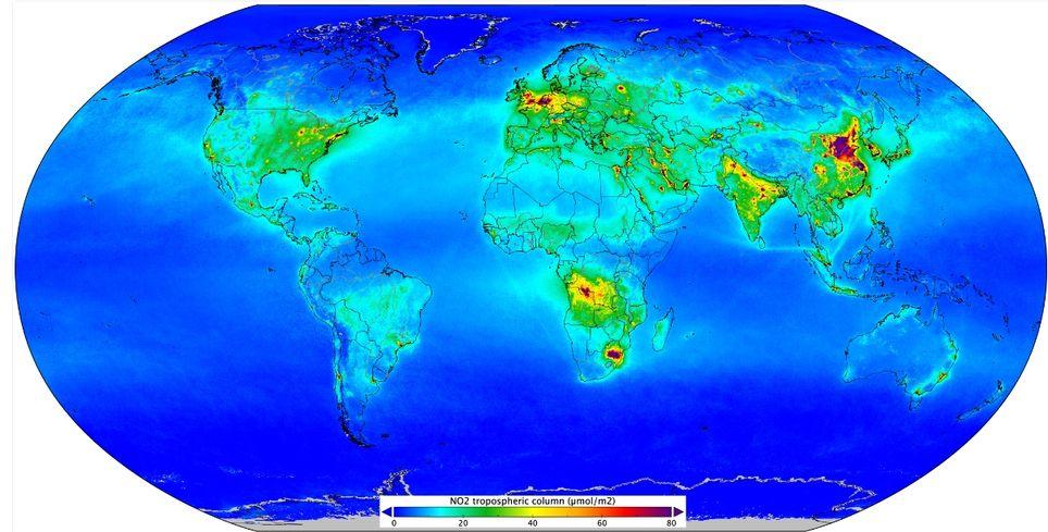 El dióxido de nitrógeno a nivel global