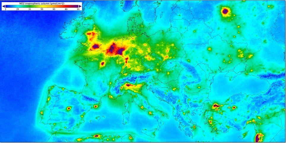 Dióxido de nitrógeno en Europa