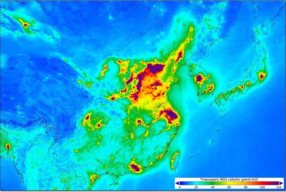 Niveles de dióxido de nitrógeno en China y Japón