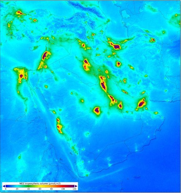 Niveles de dióxido de nitrógeno en Medio Oriente