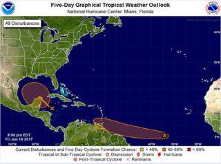 """Dos tormentas tropicales nombradas en """"puertas"""": Bret y Cindy"""