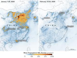 El brote de coronavirus en China disminuye la contaminación