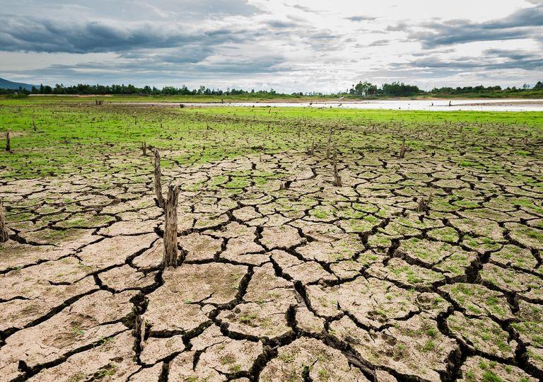 Lago secando con suelo resquebrajado