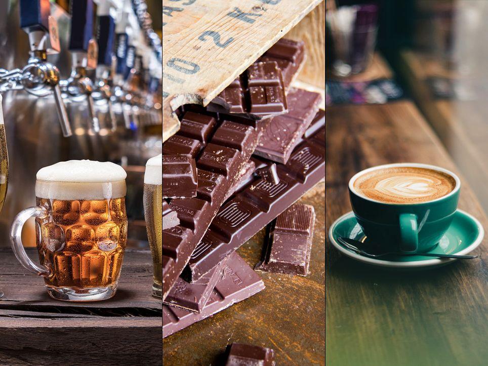 cerveza, chocolate, café