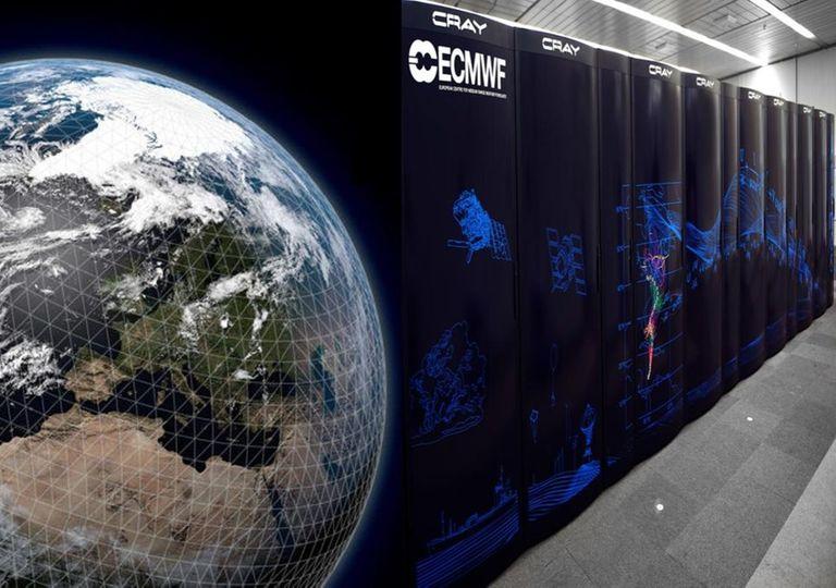 Mega computadores del ECMWF con vista al planeta Tierra
