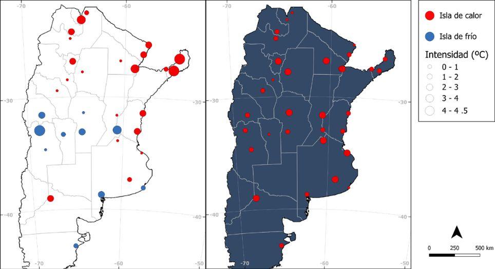 Isla de calor temperaturas Argentina ciudades