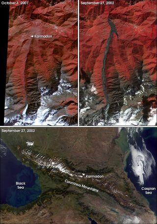 El glaciar ruso de Kolka se colapsa