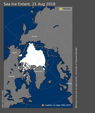 El hielo marino del Ártico en agosto de 2018