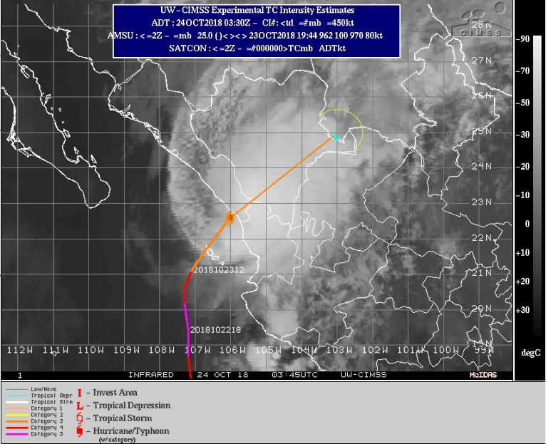 El Huracán Willa Ya En México, Entrando Desde El Pacífico Oriental