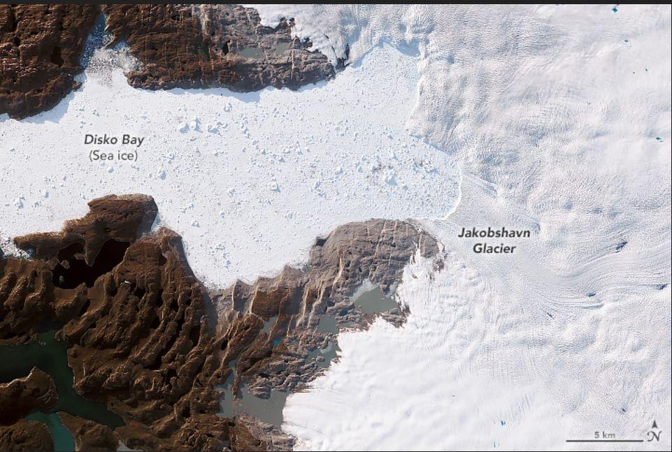 Imagen del glaciar del 6 de junio de 2019 por el Operational Land Imager (OLI) en Landsat 8