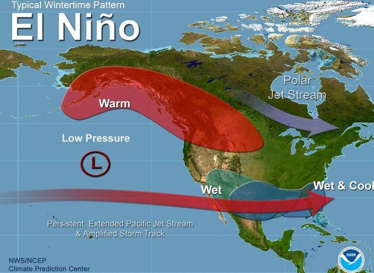 """Patrones atmosféricos típicos durante inviernos de """"El Niño"""""""