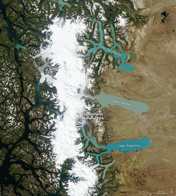 El sensor MODIS en el satélite Terra de la NASA adquirió esta imagen en color natural del Campo de Hielo Patagónico del Sur el 4 de febrero de 2019.