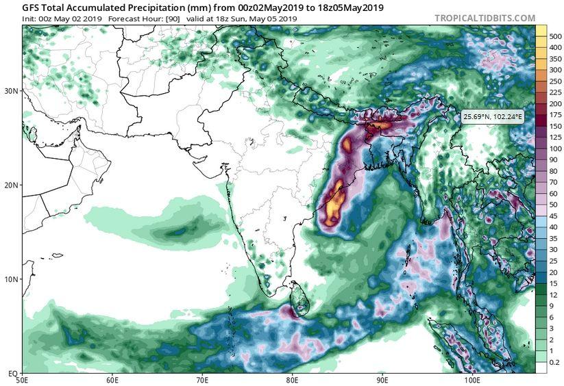 Predicción de precipitaciones acumuladas por modelo GFS entre el 2-5 de mayo de 2019. Tropicaltidbits
