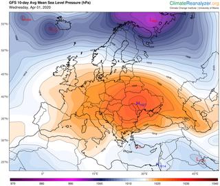 El potente anticiclón atlántico se desplazará hacia el centro europeo
