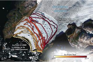 El retroceso del glaciar Sverdrup, Groenlandia