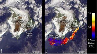 El satélite Terra observa las cenizas del volcán Kilauea