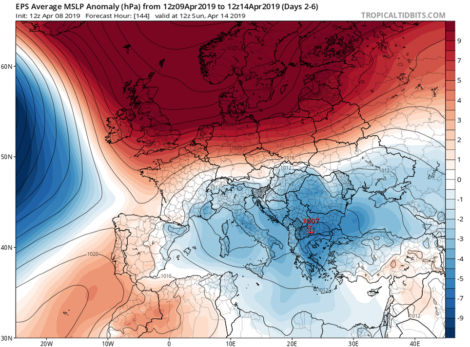 official photos d8cbf 4e5ee Mapas medios de geopotencial en 500 hPa y anomalías en escala de colores,  arriba, y presión en superficie y anomalías, abajo, para el periodo 9-14 de  abril ...