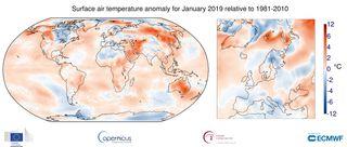 Enero de 2019 a nivel global: el cuarto más cálido