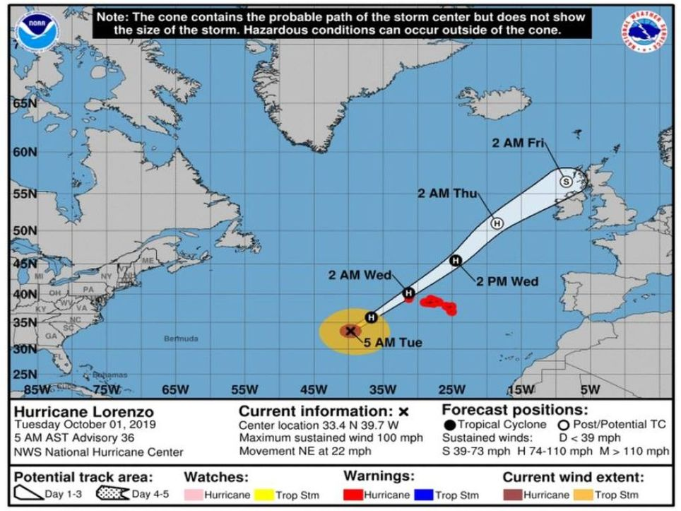 Zugbahn Hurrikan Lorenzo