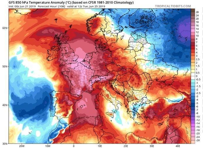 Mapa de las anomalías térmicas en 850 hPa para el 25 de junio de 2019 a las 12 UTC según el modelo GFS. Tropicaltidbits