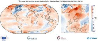 Europa: temperaturas por encima de la media en noviembre 2018