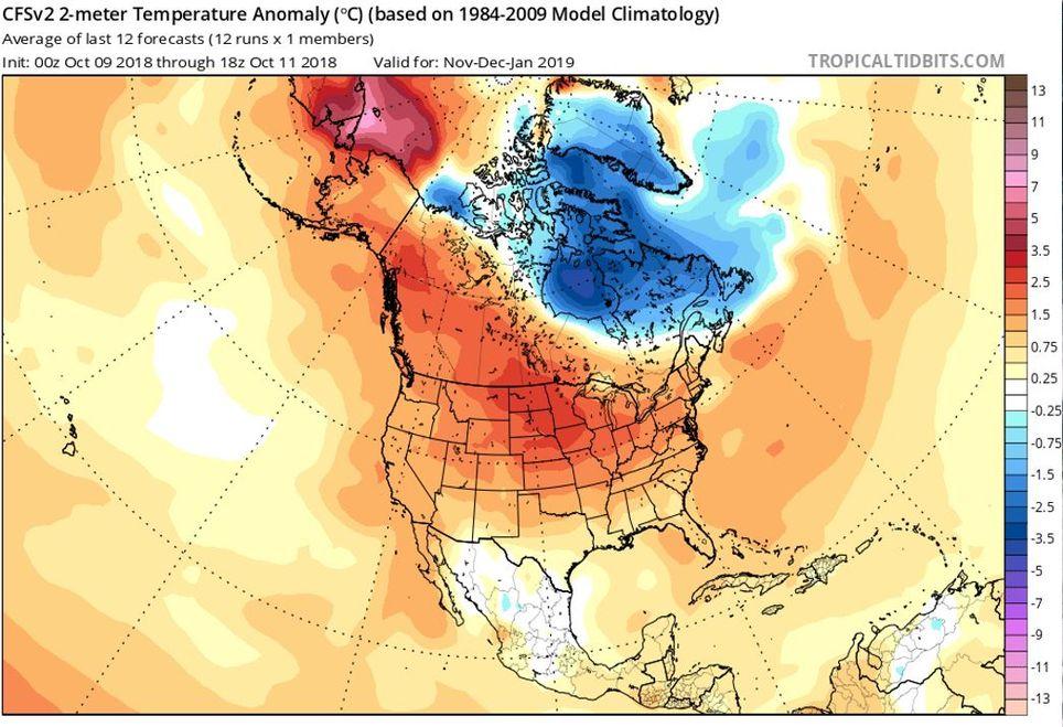 Comportamiento de las temperaturas entre noviembre y enero próximos. Modelo CFSv2