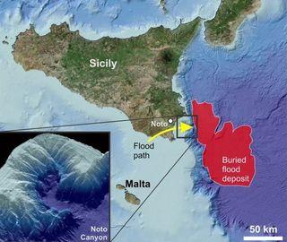 Evidencias de una inundación gigante en el mar Mediterráneo central