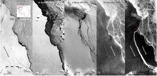 Evolución del iceberg gigante que se desprendió en la Antártida