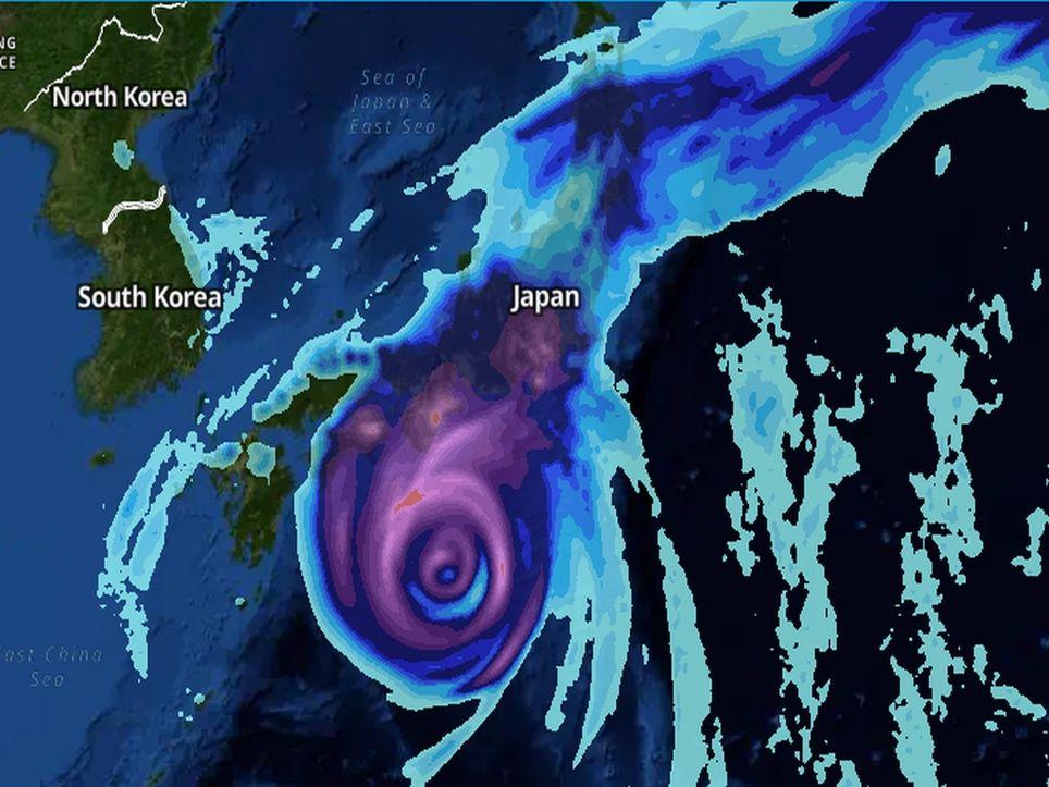 Taifun mit Starkregen