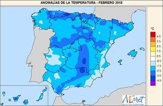 Febrero 2018, según AEMET: húmedo y muy frío