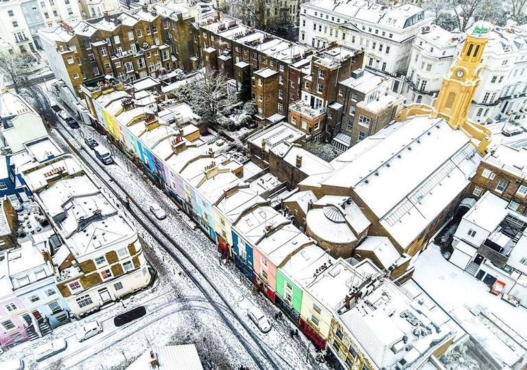 Even the colourful streets of Notting Hill in London saw lying snow in late January. Could there be more cold, snowy weather up and down the country in February?