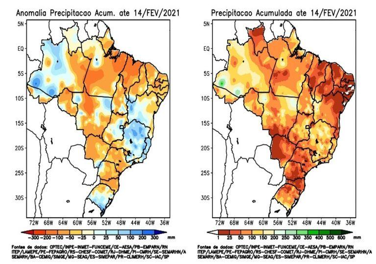 anomalia; precipitação; fevereiro
